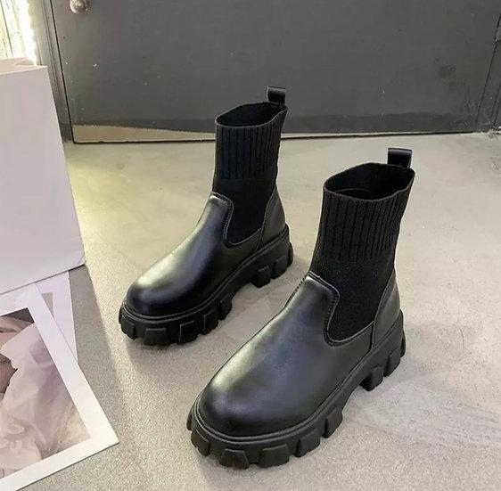 Boots noirs elastique