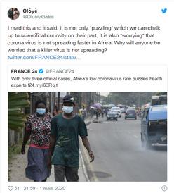 Un titre de France24 sur le COVID-19 qualifié de raciste par des internautes africains