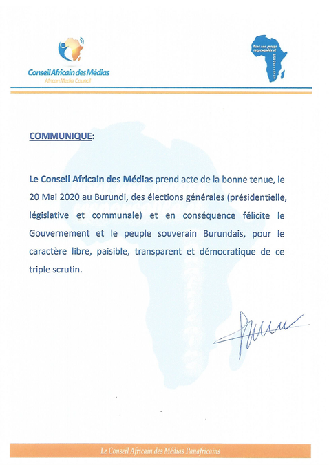 Communiqué du Conseil Africain des Médias sur le déroulement des élections générales au Burundi