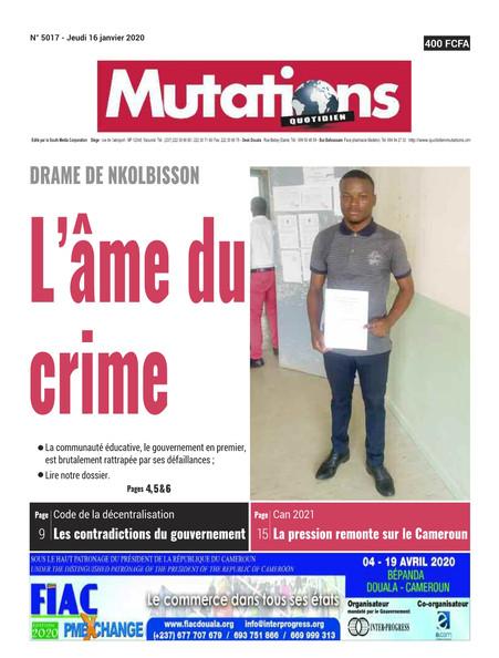 REVUE DE PRESSE AFRICAINE ET INTER EDITION DU JEUDI 16 01 2020.