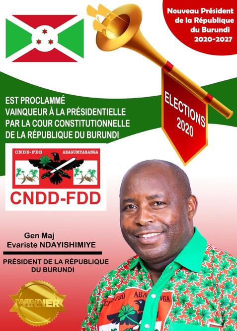 BURUNDI / PRESIDENTIELLE 2020 : NDAYISHIMIYE PROCLAME PRESIDENT ELU PAR LA COUR CONSTITUTIONNELLE