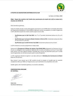 CAF : report des matchs et de l'atelier des commissaires de match de la CAF en raison de la situatio