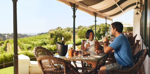 Outdoor winery tasting with food paring