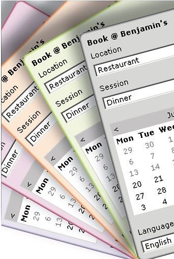 Image of the standard online booking widget that can be matched to the restaurant web design