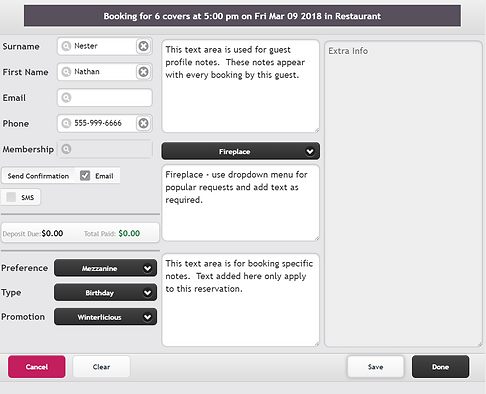ResEasy detail booking screen
