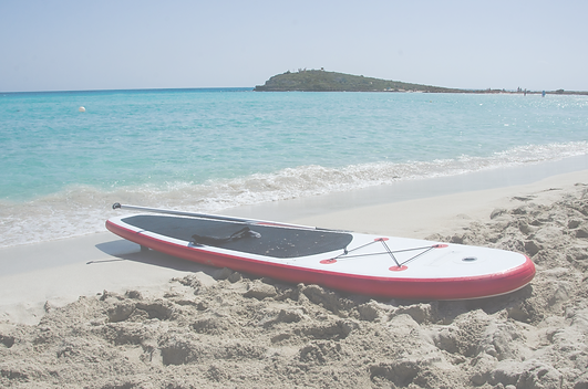 Paddleboard in the sand