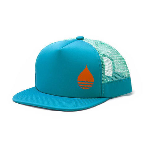 OCEAN BLUE FLOATING TRUCKER HAT WITH SNAPBACK