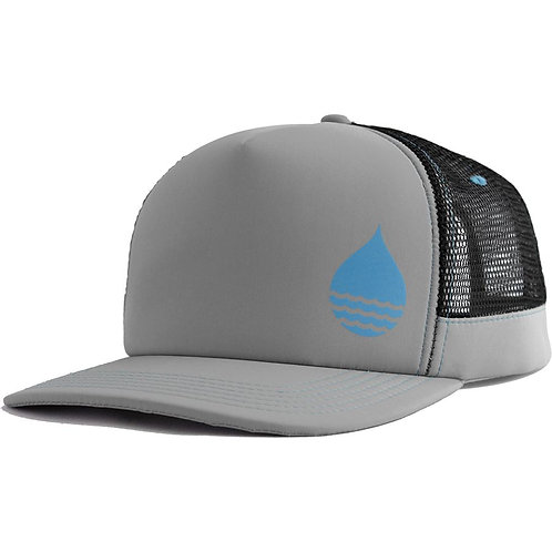 GRAY FLOATING TRUCKER HAT WITH SNAPBACK