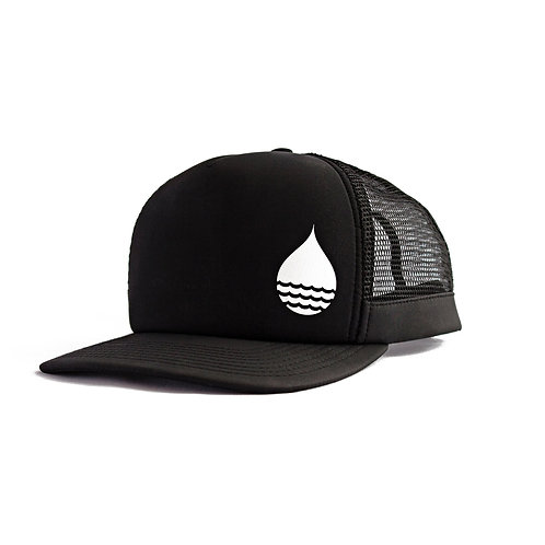 BLACK FLOATING TRUCKER HAT WITH SNAPBACk