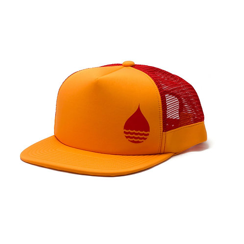 TANGERINE FLOATING TRUCKER HAT WITH SNAPBACK