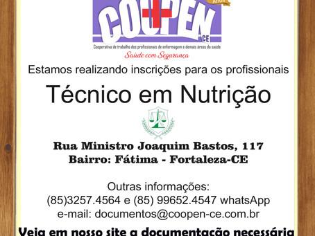 Inscrições abertas para Técnicos em Nutrição e Técnicos em Enfermagem.