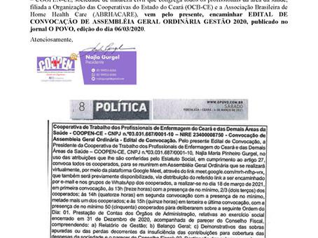 Convocação dos cooperados para participarem da Assembleia Geral Ordinária (AGO) - 18/03/2021