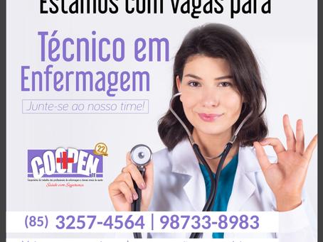 Inscrições abertas para Técnicos de Enfermagem e Técnicos em Nutrição