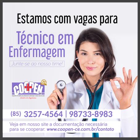 Inscrições abertas para Técnicos de Enfermagem