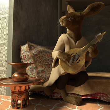 Hare playing the Lute