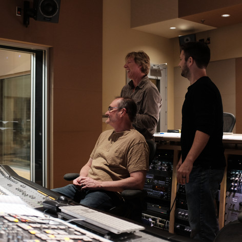 """Mike, Robbie and Casey during a light-hearted moment during the recording of Mike's EP """"Psychedelia."""""""