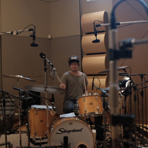 """Grady Saxman laying down drum tracks for Mike's EP """"Psychedelia."""""""