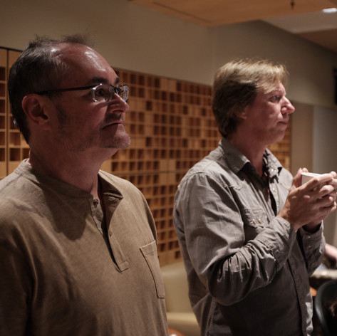 Mike and Robbie in the control room at Paragon listening to a track