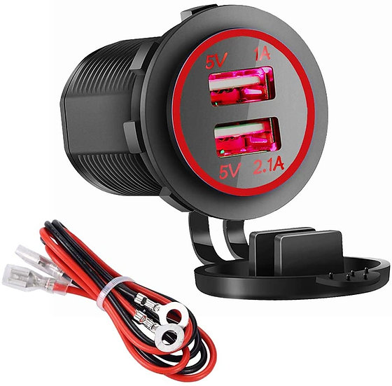 (RED) Dual USB Charger Socket Power Outlet - 1A & 2.1A