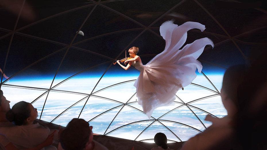 Violinist performing onboard Starship spaceship