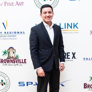 Joe Steven arriving at SpaceX Gala Exhibit Brownsville Museum of Fine Art