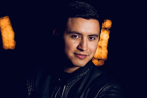 Joe Steven wearing black leather jacket