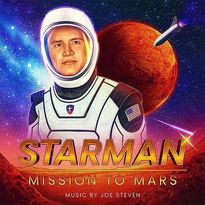Illustration of Joe Steven in astronaut suit on Mars planet