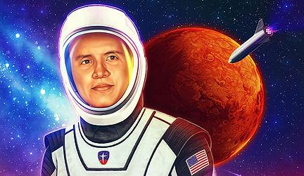 Illustration of Joe Steven wearing astronaut suit on Mars