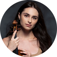 Image of Esther Abrami holding violin.