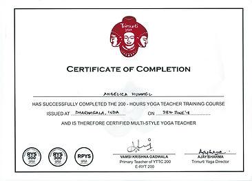 Certifikat för multi-style yogalärarutbildning