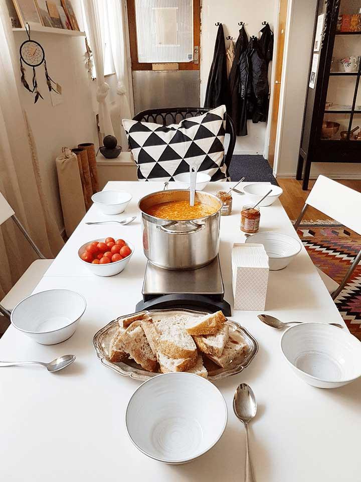 Vegansk linssoppa till lunch på Trinity Yoga i Sundbyberg