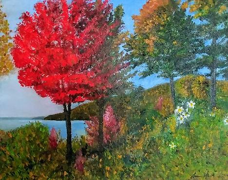 """Paysage d'automne , peinture à l'huile, 20""""/16"""""""