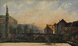 Le Pont de Nahin, vers 1837, huile sur papier marouflé sur toile, 16,7 x 26.4 cm, Musée Courbet, Ornans