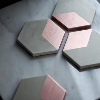 Rose Gold Hex Concrete Coasters
