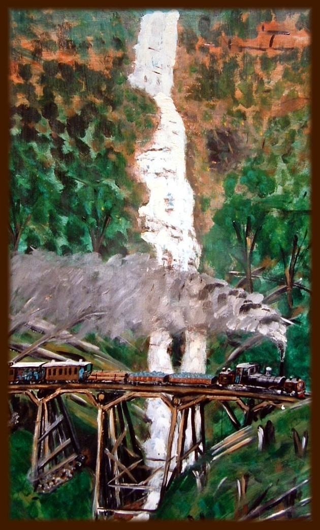 Artwork by Douglas Cock - K Class Beyer Garrett on Montasuma Falls Tresle Bridge.