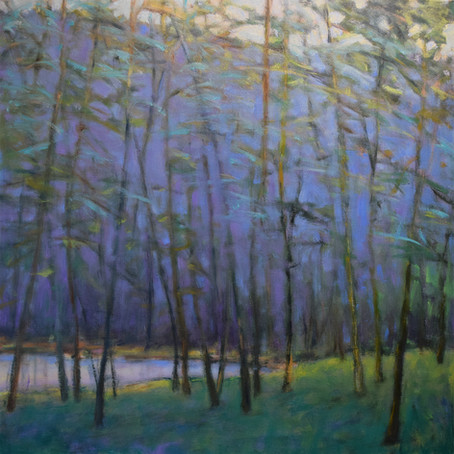 New Oil: Lake Calm, oil on canvas 40  40 inches