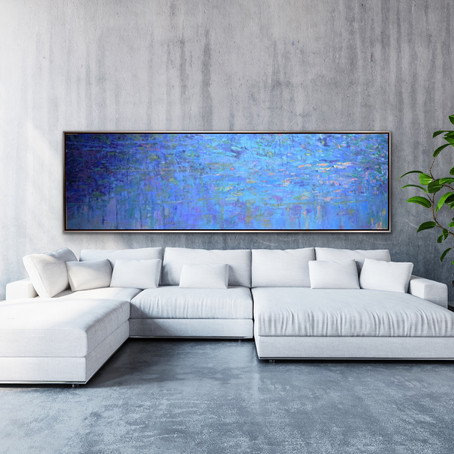 "New work: Resumed - Blue Conversation, oils on canvas, 48"" x 60"" each, 48"" x 120"" total"