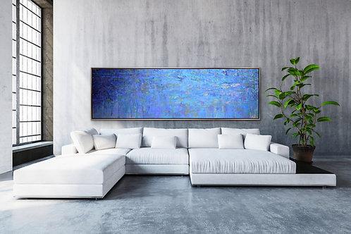 "Resumed - Blue Conversation, oils on canvas, 48"" x 60"" each, 48"" x 120"" total"