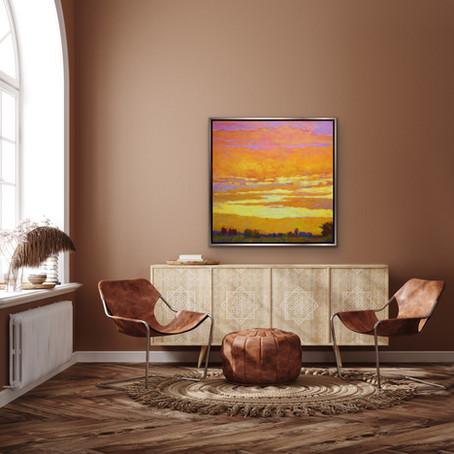 New Work: Yellow to Orange Sunset, 36 x 36 inches