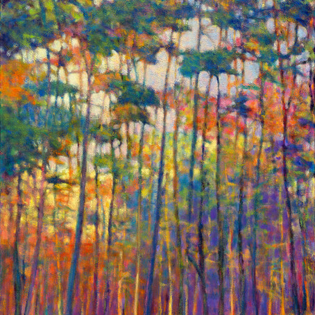 Grateful Notices: Glittering Forest, oil on canvas, 48 x 36 inches