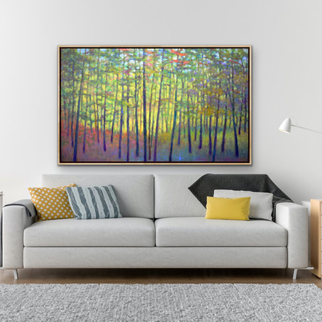 New Work: Expressive Forest, oil on canvas, 36 x 60 in
