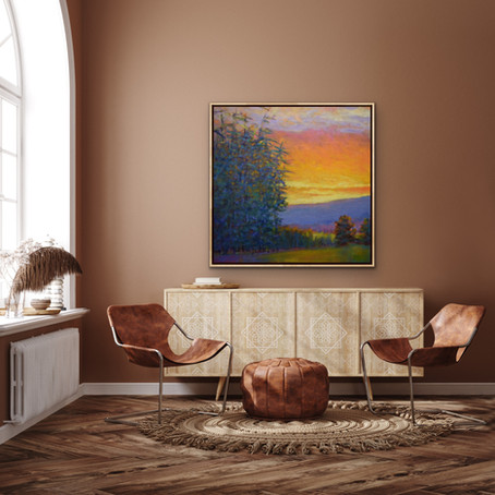 Grateful Notices: Enriched Evening, Sunset, oil on canvas, 40 x 40 in.