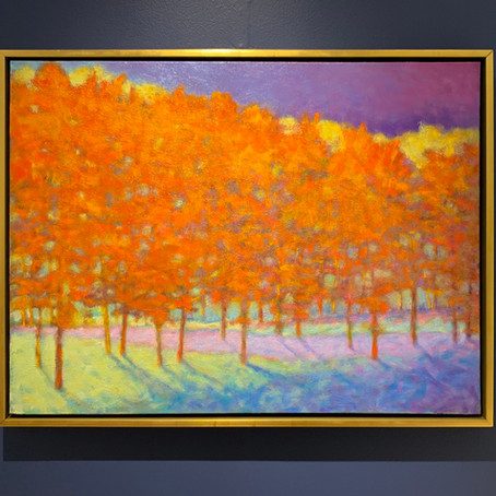 Grateful notices: Glowing Tree Line, oil on canvas, 30 x 40 in
