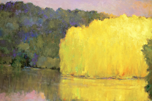 Yellows on a Still Lake, oil on canvas, 36 x 60 inches. Private collection