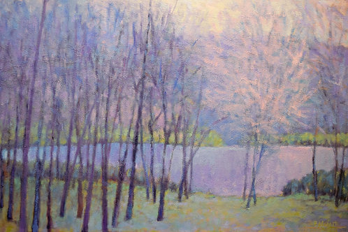 Soft Light on the Pond, oil on canvas, 36 x 60 inches