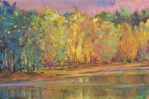 At the Creek, Greens and Golds - Signed, limited edition giclee