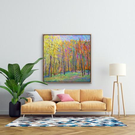 Grateful Notices: Improv Landscape II, oil on canvas, 48 x 48 in.