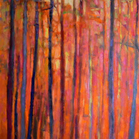 New Work:  Light Dialogue - Red, Oil on canvas, 48 x 30 inches