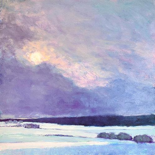 Sun on Snow II, oil on panel, 24 x 24 inches
