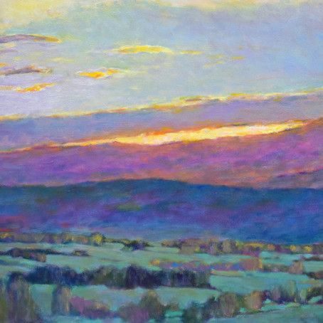Grateful Notices: Sun Behind the Foothills, 36 x 60 oil on canvas